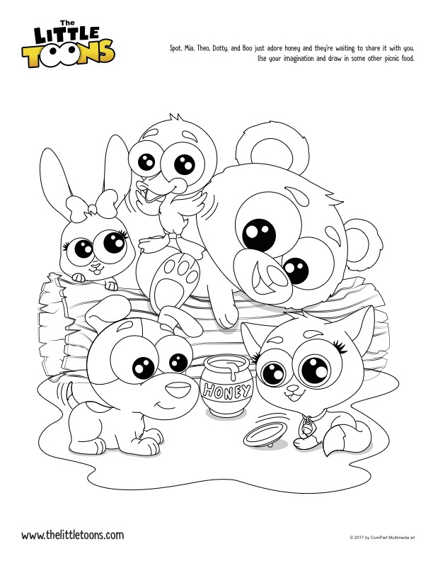 Sweet honey: coloring page for kids - download and print